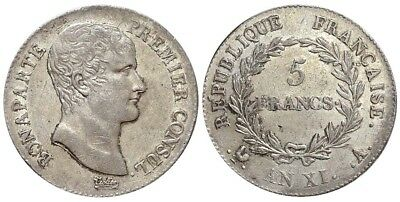France, Napoleon Bonaparte as First Consul, 5 Francs AN XI (1803)