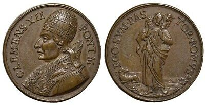 M- Rome, Clement XII, AE Medal 1730, The Good Shepherd, PT52
