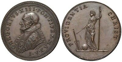 M- Rome, Gregory XIII, AE Medal 1572, The Providentia, M750