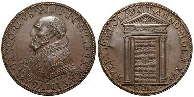 M- Rome, Gregory XIII, AE Medal 1575, The Holy Door, M728