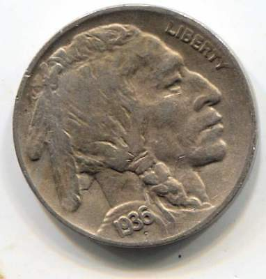 US 1936 D Indian Buffalo Nickel - American Five Cent Coin - Denver Mint