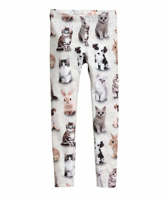 NWT! Adorable H&M bunny/cat/dog print knit leggings - four sizes