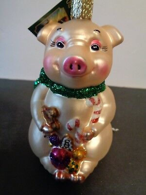 Old World Christmas Pig Ornament Boxed With Tag