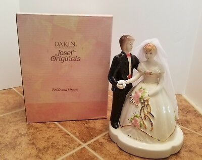 Josef Originals Bride & Groom Ceremic Figurine Dakin 24k Gold Paint Accents
