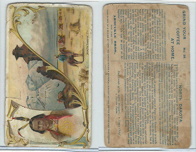 K5 Arbuckle Coffee, History of the U.S., 1890, #28 North Dakota, Sioux Indian