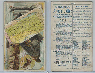 K6 Arbuckle Coffee, Illustrated Atlas of the U.S., 1890, #69 Vermont, Horses