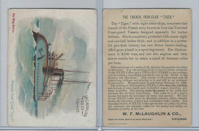 K64 McLaughlin Coffee, Peculiar War Ships, 1890, French Iron Clad Tiger