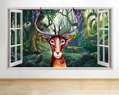 Details about  /3D Sika Deer Forest 8Wall Stickers Vinyl Murals Wall Print Deco AJSTORE UK Lemon