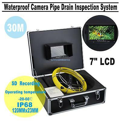 "30M Sewer Waterproof Camera 7"" Color LCD Drain Pipe Pipeline Inspection System"