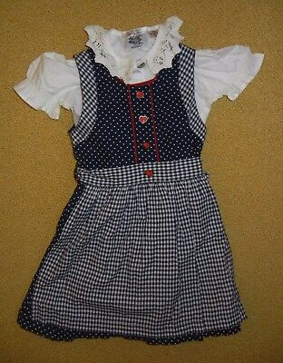 ISAR TRACHTEN Blue German BAVARIAN DRESS Size Girl's YOUTH 80 Small Cute Outfit