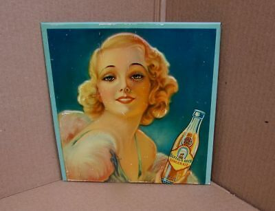 Vintage RARE Buffalo Rock Ginger Ale Soda Pop TOC Tin Over Cardboard Sign