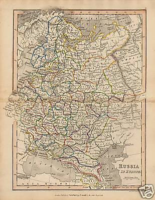 """1840 Map """" Russia In Europe  """" Published  T.cadell"""