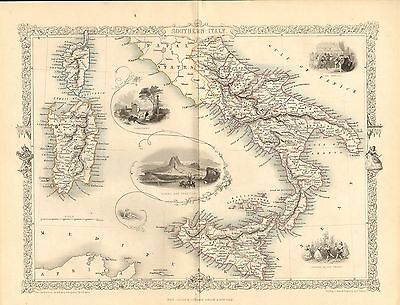 "1850s map "" the life and times of wellington "" titled - s.italy . illustrated"
