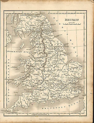 1828 map of britain . engraved and published by j.vincent of oxford