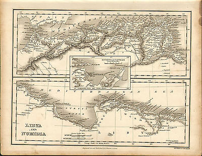 1828 map of libya & numidia   - engraved and published by j.vincent of oxford