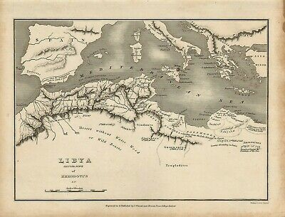 1828 map of libya - engraved and published by j.vincent of oxford