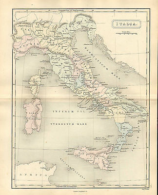 antient geography map by samuel butler 1869 - italia