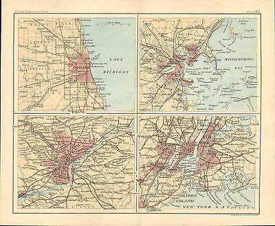 """1890 small map of """" environs - new york etc """" by j. bartholomew 1890"""