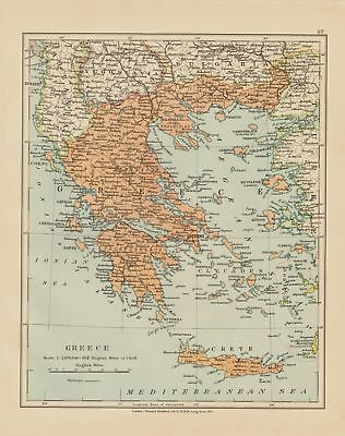 Edward Stanford Map  1920 . Greece