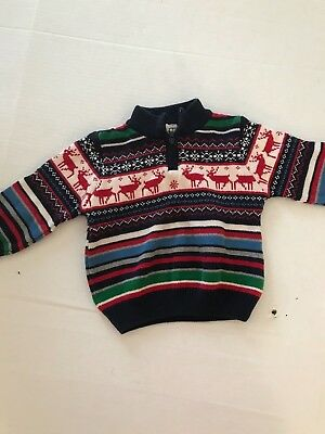 Nwot Wonderkids Sweater.  Size 3T.  Multicolored With Reindeer.