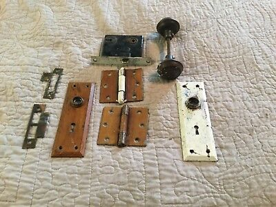 Antique Vtg Door Hardware Hinges Plates Hobnail Knobs Penn Mortise Lock Set