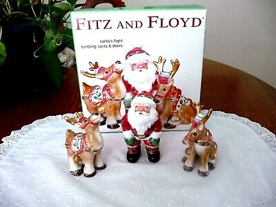 Fitz and Floyd Santa's Flight Tumbling Santa and Deers Set IOB