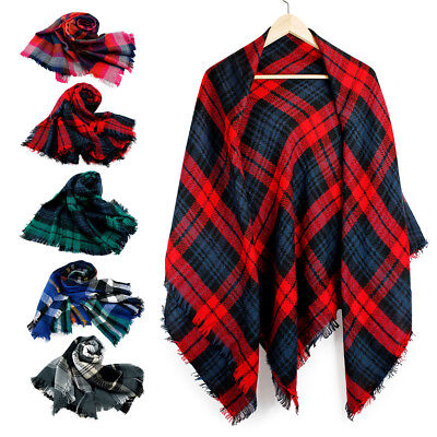 Women Long Blanket Oversized Tartan Scarf Wrap Shawl Plaid Cozy Checked Pashmina