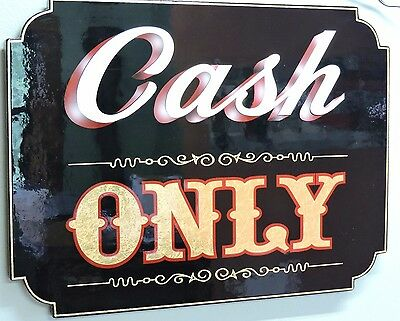 """Old Fashioned, Vintage, """"Cash Only"""" Sign Tattoo,Business,Bar, Pub, Tavern, NICE"""