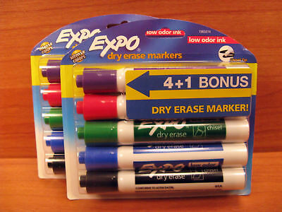 EXPO Dry Erase Markers, Chisel Tip, Assorted Colors, 4+1 Pack 1965014