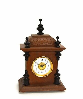 Miniature German Style Carved 3 Finial Bracket Clock with Porcelain Dial