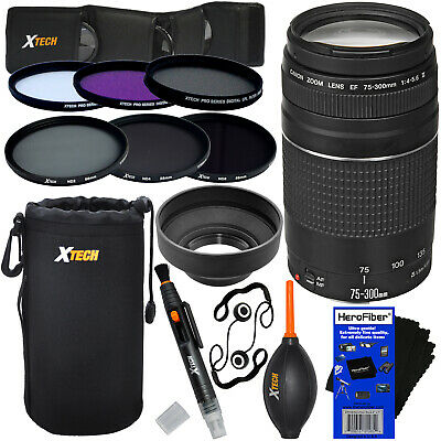 Canon EF 75-300mm f/4-5.6 III Lens + 6 Filters + 7pc Kit for EOS 40D, 60D & 70D
