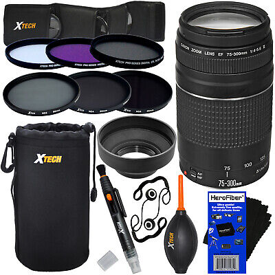 Canon EF 75-300mm f/4-5.6 III Lens + 6 Filters + 7pc Kit for EOS 77D & 80D