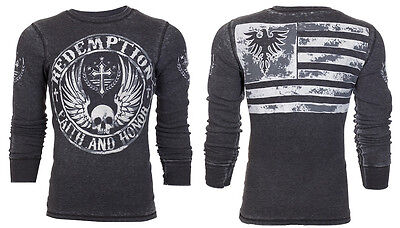 ARCHAIC by AFFLICTION Mens THERMAL T-Shirt CROSSED DEATH Biker USA Flag UFC $58