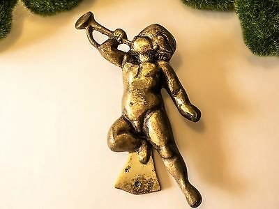 Antique Solid Brass Door Knocker Cherub Putti Art Nouveau Victorian