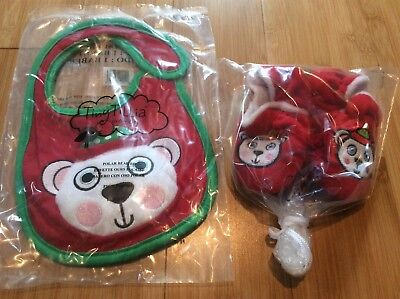 New baby bib and booties set  size 0-9 month holiday bear red green Tiny Tillia