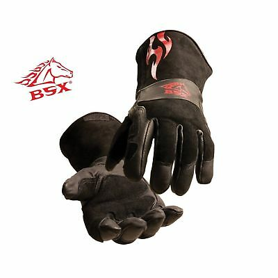 BSX Stick/MIG Welding Gloves - Black with Red Flames Size Large