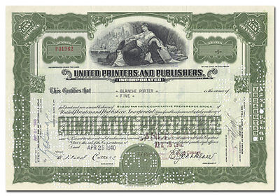 United Printers & Publishers Incorporated Stock Certificate (Rust Craft Cards)