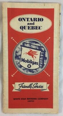 Antique 1936 White Star Refining Ontario Quebec Canada Mobilgas Oil