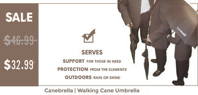 "Cane Umbrella 35""x44 width (Canebrella) Walking Stick FREE SHIPPING!"