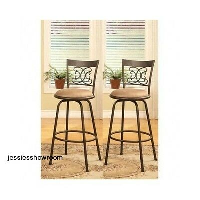 Adjustable Counter Height Swivel Kitchen Pub Bar Stools Set Of 2 Scroll-Back New