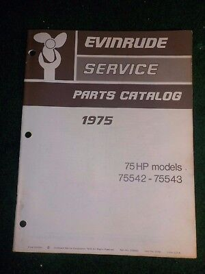 1975 OMC Evinrude Outboard Parts Catalog Manual 75 HP Final Edition DEALER