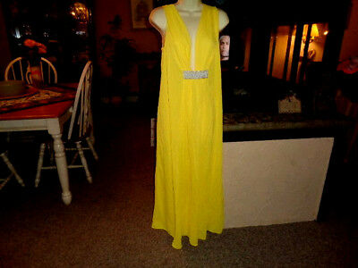 Vtg  Beeline Fashions Yellow Silky Nightgown Grecian Style Long Size 1 X    SEE!