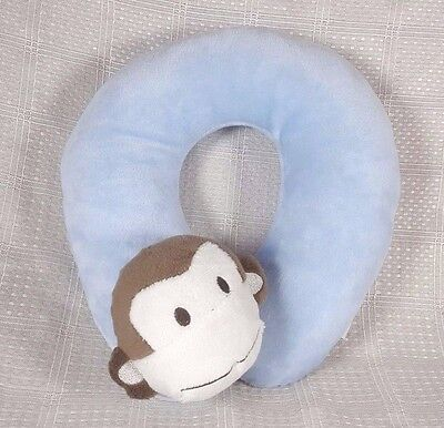 "Cozy Baby Monkey Travel Pillow Headrest Blue Plush 9"" x 8"" EUC"