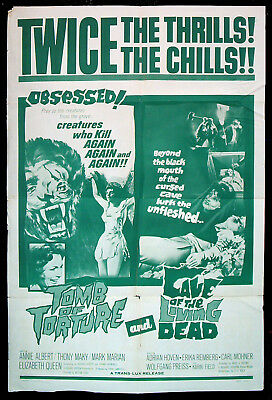 TOMB OF TORTURE CAVE OF THE LIVING DEAD original 1966 US one sheet movie poster