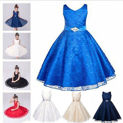 Pageant Flower Girl Dress Kids Lace Party Dress Bridesmaid Gown Formal Dresses
