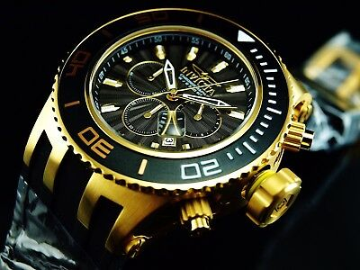 Invicta Men's 52mm Subaqua Specialty Chronograph Black Dial 18K Gold IP SS Watch