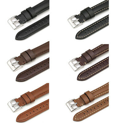 Genuine Leather Mens Watch Strap Band Twister Stainless Steel Buckle 18/20/22mm
