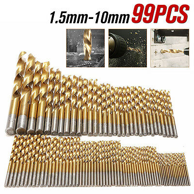 99PCS Titanium Coated HSS High Speed Steel Drill Bit Set Tool 1.5mm - 10mm