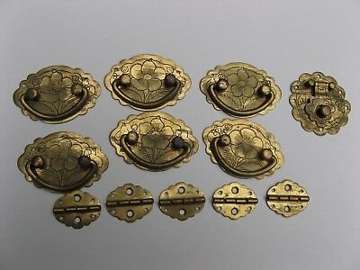 Vintage lot of brass Japanese jewelry box HINGES~clasp~pulls~tiny size~crafts!