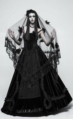 Punk Rave Gothic Goth Victorian Black Mesh Mourning Bridal Veil Roses Lace